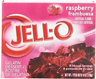 JELLO Raspberry Gelatin Dessert Mix (6oz Boxes, Pack of 24)