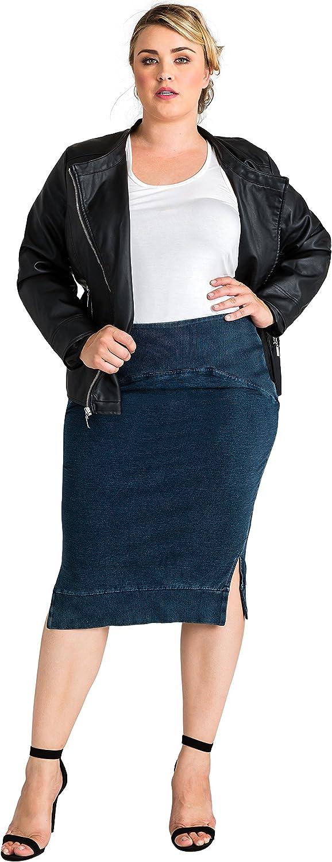 Standards & Practices Plus Size Modern Womens Side Slit Indigo Knit Pencil Skirt