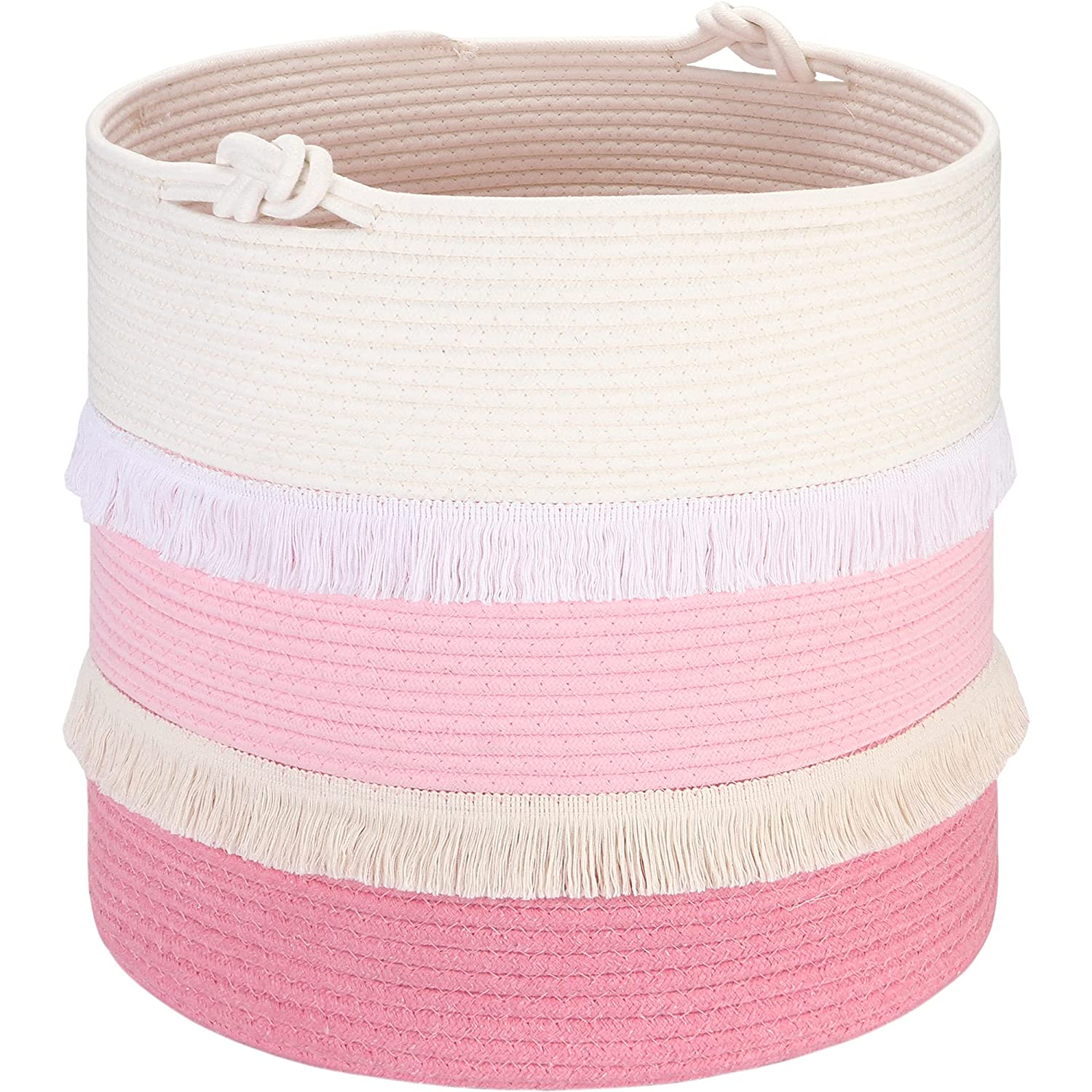 Sea Team Large Size Cotton Rope Basket with Decorative Macrame Patchwork, Cute Tassel Woven Storage Bin, Laundry Hamper, Clothes, Toys, Blankets Organizer for Baby Girls, 17 x 17 Inches, Pink