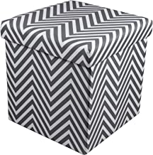 Sorbus Chevron Storage Ottoman Cube – Foldable/Collapsible with Lid Cover – Perfect Hassock, Foot Stool, Toy Storage Chest, and More (Small-Ottoman, Chevron Gray)