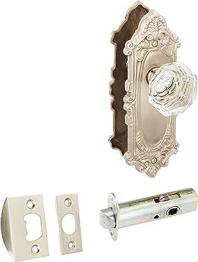Largo Design Door Set with Diamond Crystal Knobs Privacy in Satin Nickel. Doorsets.