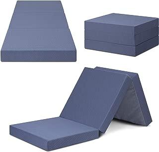 SLEEPLACE 04TM01S Multi Layer Tri-Folding Memory Foam Topper Mattress, Single, Grey
