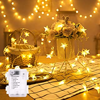 Christmas Lights,11FT 30 LED Battery Operated Waterproof 8 Modes Star String Lights Warm White for Indoor, Outdoor, Weddin...