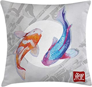 Ambesonne Koi Fish Throw Pillow Cushion Cover, Watercolor Style Koi Fish Couple Design with Grunge Brushstrokes Based Paint, Decorative Square Accent Pillow Case, 16