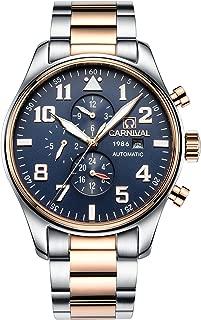 Men Pilot Automatic Mechanical Watch Luminous Dial Sapphire Glass Week Month 24/Hours Watches 44MM