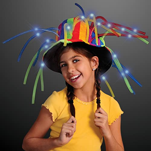 0b40c50e8200d FlashingBlinkyLights Funny Clown Top Hat with LED Lights   Noodle Hair