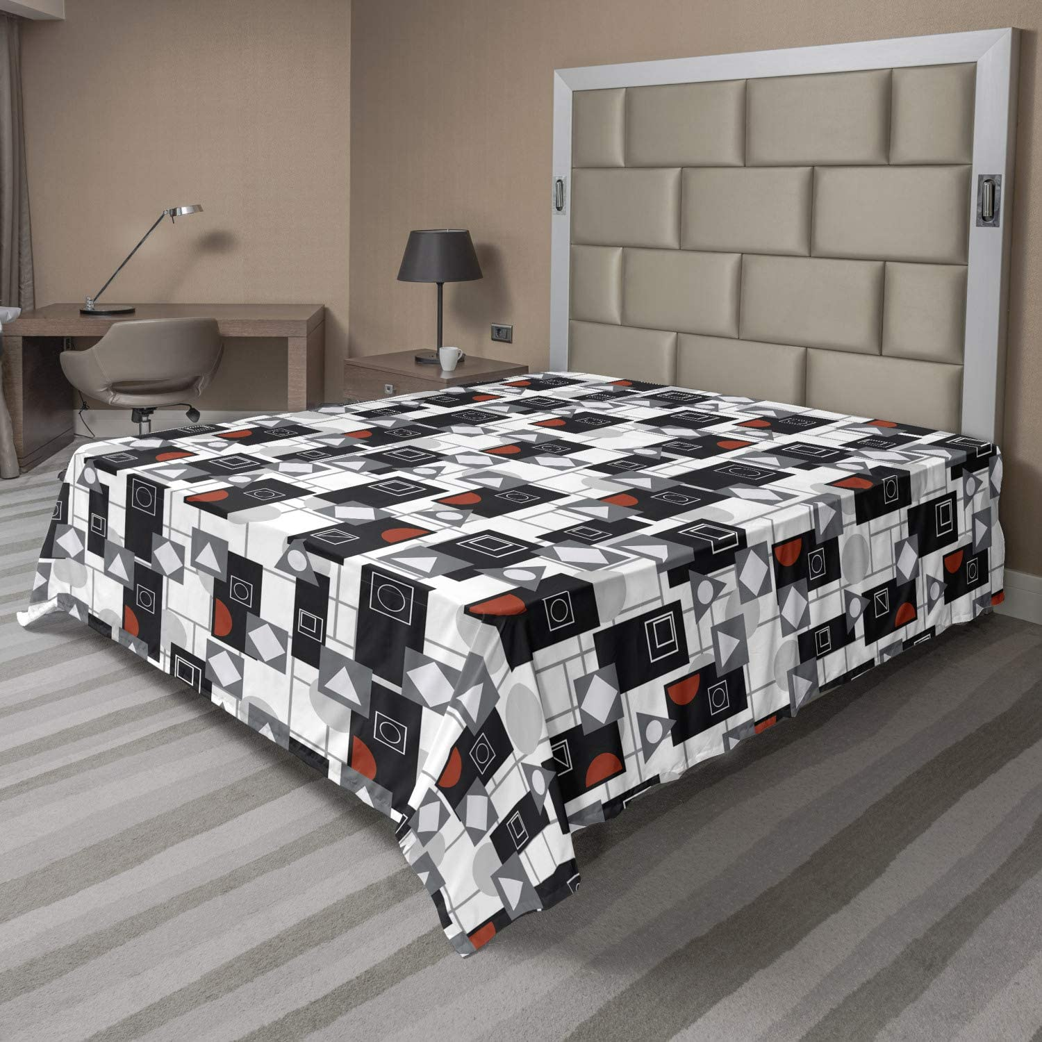 Ambesonne Geometric Flat Sheet 25% OFF Rounds and Triangles Rectangles Max 71% OFF