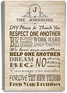 DECORARTS - Family Rules, Wood Grain - Personalized Canvas Prints Gift, Includes Family Names & Family Crest for Family and Self.