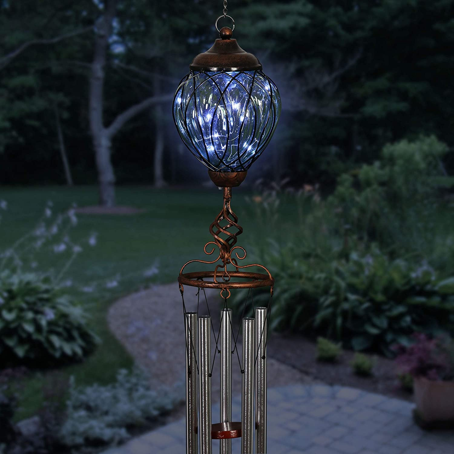 Exhart Max 70% OFF Solar Green LED Lantern In a popularity Metal Bronze Cage Wind Finial Chi