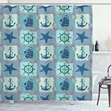Ambesonne Ships Wheel Shower Curtain, Nautical Patchwork Pattern with Rope Starfish Sailing Ship Anchor and Wheel, Cloth Fabric Bathroom Decor Set with Hooks, 75 Long, Turquoise