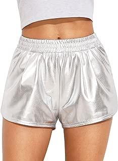 Jollymoda Women's Yoga Hot Shorts Shiny Metallic Pants