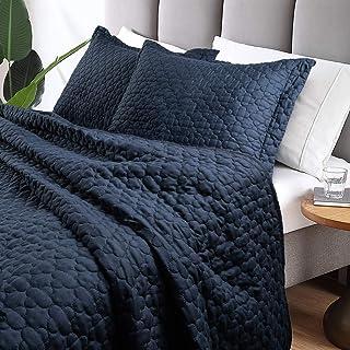 Tempcore Quilt Queen Size Navy Blue 3 Piece, Hypoallergenic Microfiber Lightweight Soft Bedspread Coverlet for All Season,Full/Queen Navy Blue,(1 Quilt,2 Shams)