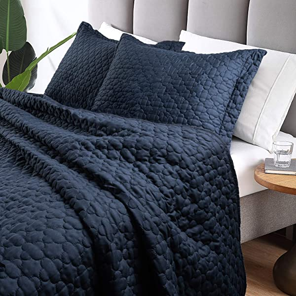 Tempcore Quilt Queen Size Navy Blue 3 Piece Hypoallergenic Microfiber Lightweight Soft Bedspread Coverlet For All Season Full Queen Navy Blue 1 Quilt 2 Shams