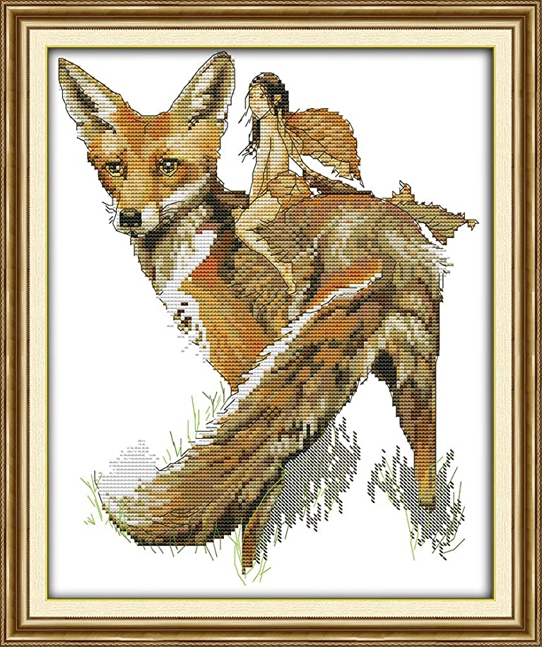 Joy Sunday? Cross Stitch Kit 14CT Counted Embroidery Kits Unprinted Needlework- The fox and elfin 30×35CM