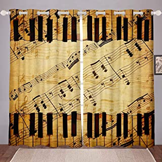Erosebridal Music Notes Window Drapes Piano Keyboard Melody