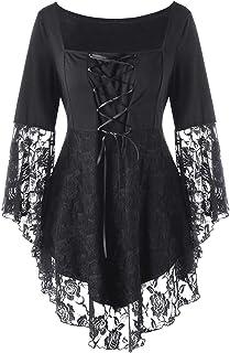Gothic Blouses Shirts Plus Square Collar Flare Lace Ladies Tops Black Blouse Woman Clothes