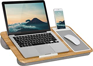 LapGear Home Office Lap Desk with Device Ledge, Mouse Pad, and Phone Holder - Oak Woodgrain - Fits Up to 15.6 Inch Laptops...