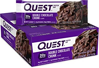 Quest Nutrition Double Chocolate Chunk Protein Bar, High Protein, Low Carb, Gluten Free, Keto Friendly, 12 Count