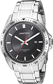 Armitron Men's Solar Powered Date Function Silver-Tone Bracelet Watch, 20/5368BKSV