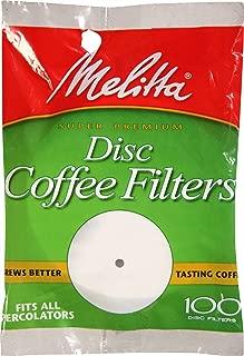 Melitta Super Premium Percolator Disc Coffee Filters, White, 100 Count