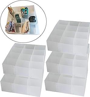 DynaSun PP51HA Juego de 5 Cajas Transparentes Multiusos, 12 Compartimentos, Organizador, Separador de cajones, Recipiente para Sujetadores, Ropa Interior, Calcetines