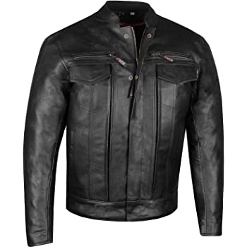 Men's Commuter Premium Natural Buffalo Armor Motorcycle Leather Biker Jacket L