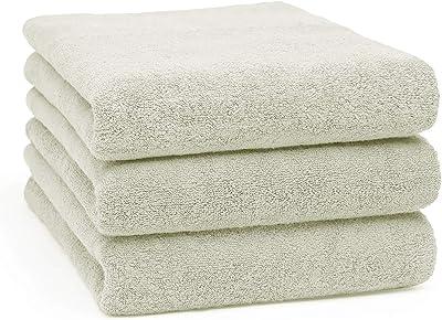 LEEPWEI バスタオル 3枚セット 綿100% タオル 吸水 速乾 ホテル仕様 タオル 柔らか肌触り 耐久性 大判 60*120 (ソフトグレー)