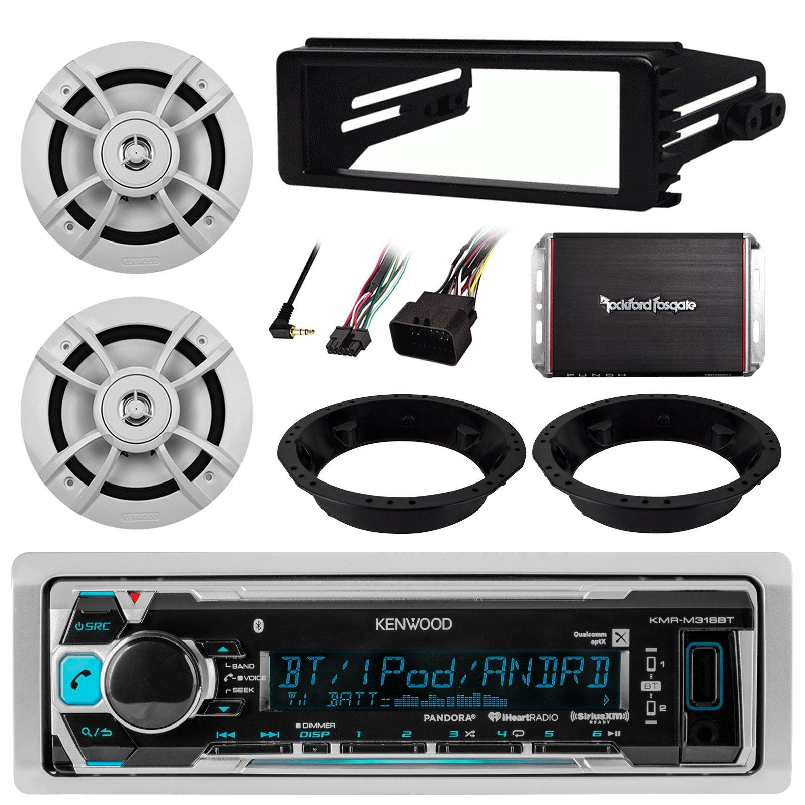 "Kenwood Bluetooth Radio Brackets Harness,2x 6.5/"" 2-Way Speakers Kit Adapter"