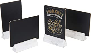 MyGift 8-Inch Dual-Sided Chalkboard Signs with Vintage White Wood Stands, Set of 4