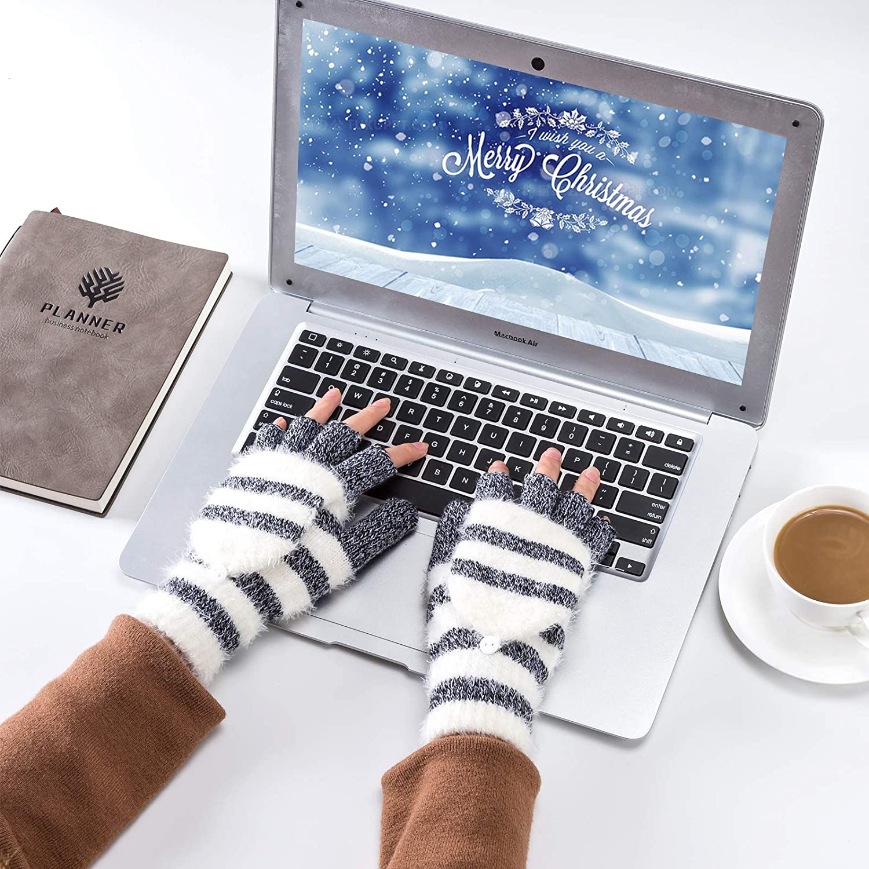 Reach Star Winter Knitted Convertible Fingerless Gloves Wool Mittens Warm Mitten Glove for Women