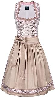 Almbock Midi Dirndl - Trachtenkleid kurz für Frauen Made in Germany - Traditionelles Dirndl rosa beige in den Größen 34-44