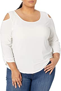 Star Vixen Women's Plus-Size Long Sleeve Cold Shoulder Super Soft Top