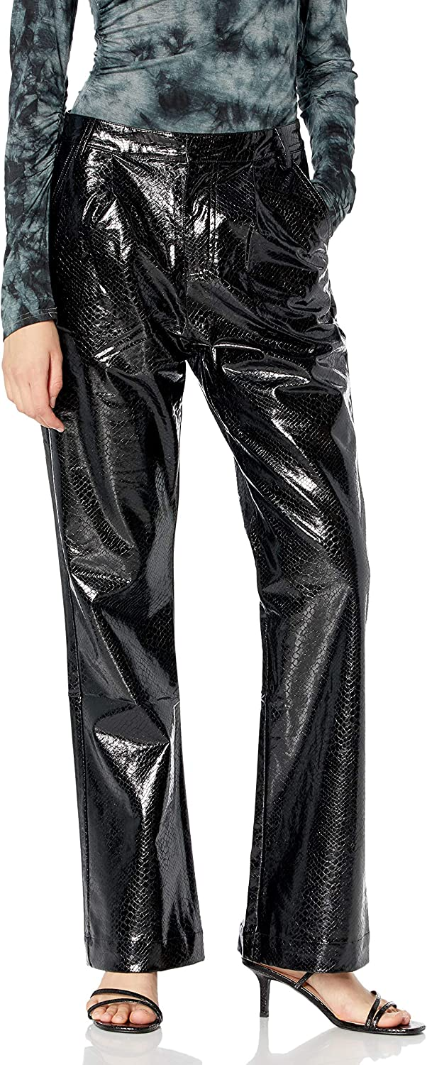 KENDALL + KYLIE Women's Vegan Wide Leg Pant Max 50% OFF Leather Rapid rise