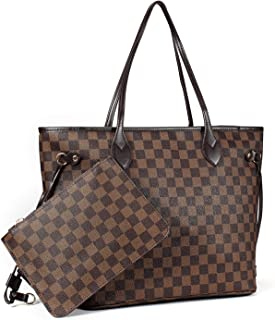 Checkered Women's Tote Handbags Shoulder Bag with inner pouch - PU Vegan Leather 12 inches MM 32 CM