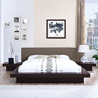 Modway Freja Upholstered Cappuccino Brown Modern Platform Bed with Wood Slat Support and Two Nightstands in Queen