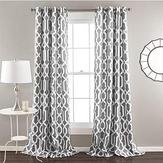 "Best Lush Decor Edward Trellis Curtains Room Darkening Gray Window Panel Set for Living, Dining, Bedroom (Pair), 95"" L Review"