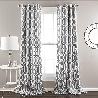 Lush Decor Edward Trellis Curtains Room Darkening Gray Window Panel Set for Living, Dining, Bedroom (Pair), 108