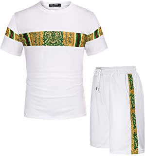 Mens Mesh Outfits Tracksuit African Dashiki T-Shirt and Shorts Set