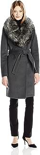 Women's Sasha Wool Wrap Coat with Real Fur Collar