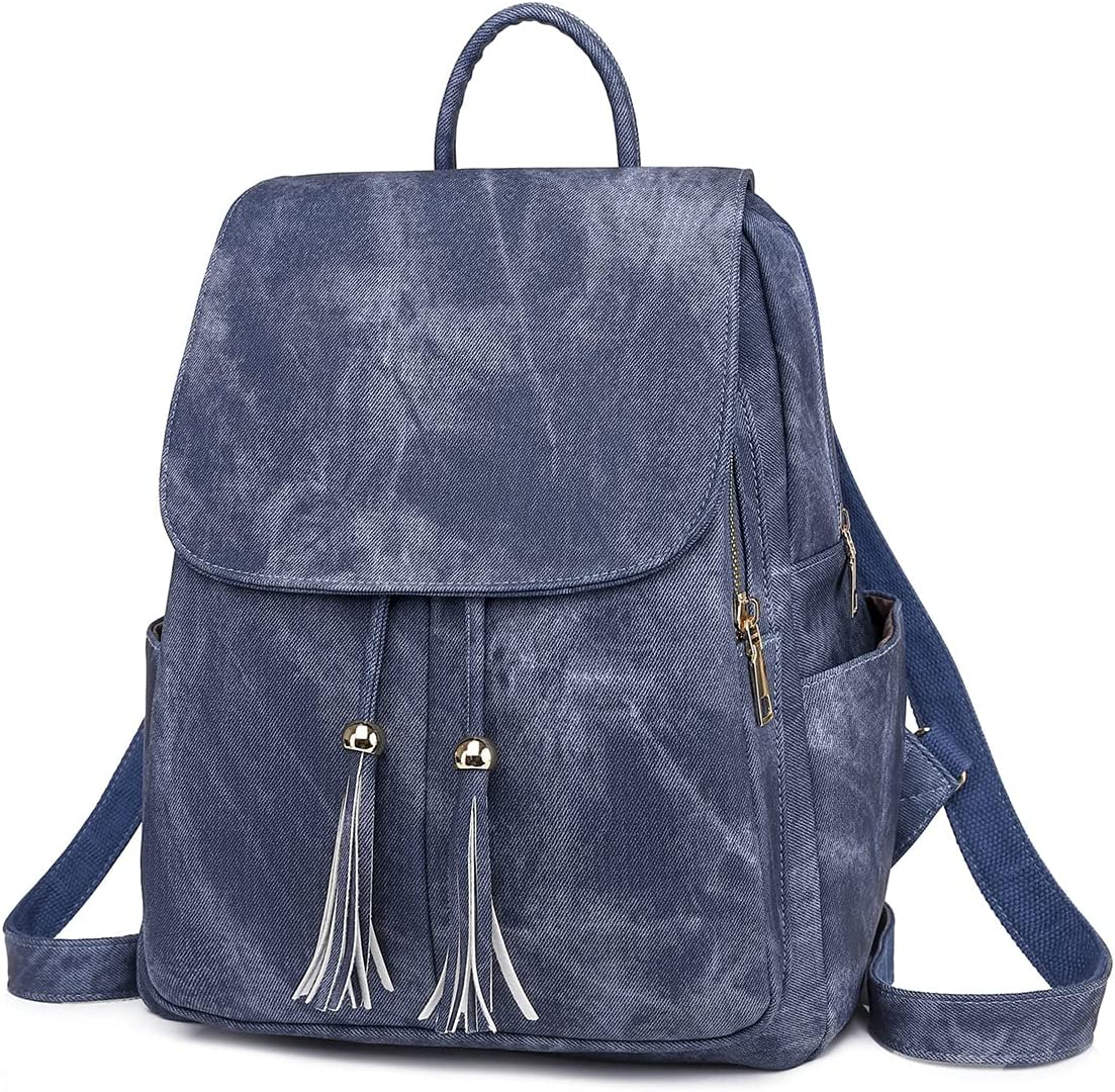 Women's Backpack Purse Lady Anti-theft Bag Girls Daypack Casual Convertible Travel Bag Woman Shoulder Bag… (Blue)