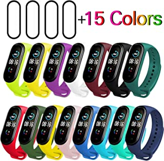 Milomdoi [19 Articulos] 15 Colors Correas + 4 Unidades TPU Protector Pantalla para Xiaomi Mi Band 5, Silicona Correa de Re...