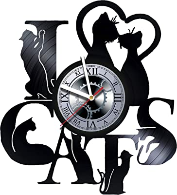 studioRUTART Lovely Cats - Wall Clock Made of Vinyl Record - Handmade - Unique Design -