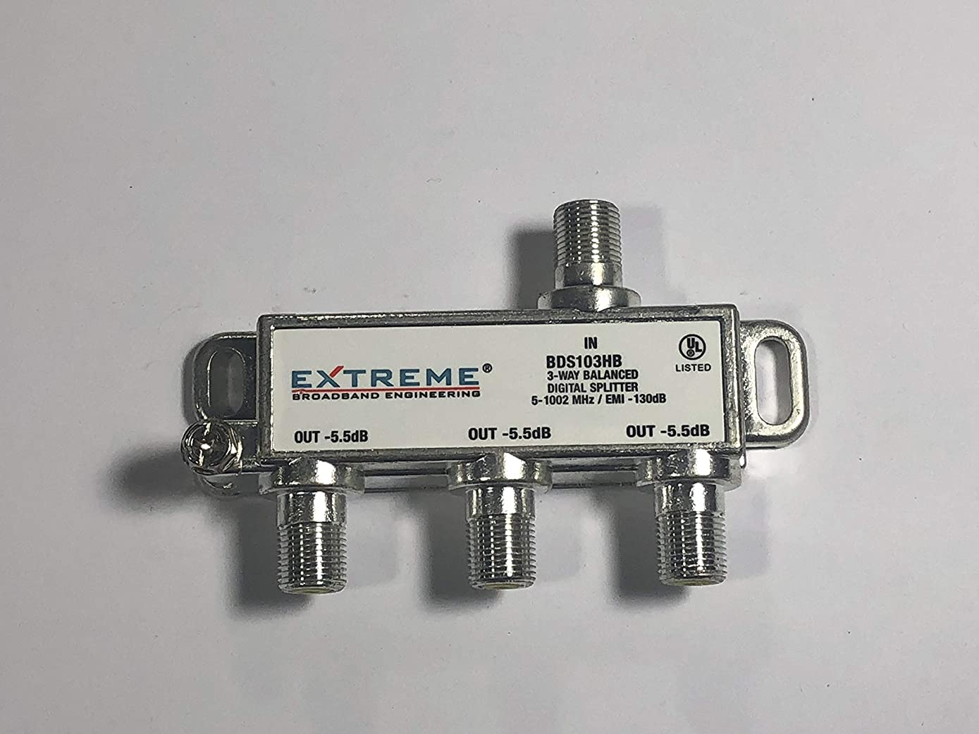 Extreme Broadband Manufacturing BDS103H 3 Way Balanced HD Digital 1GHz High Performance Coax Cable Splitter