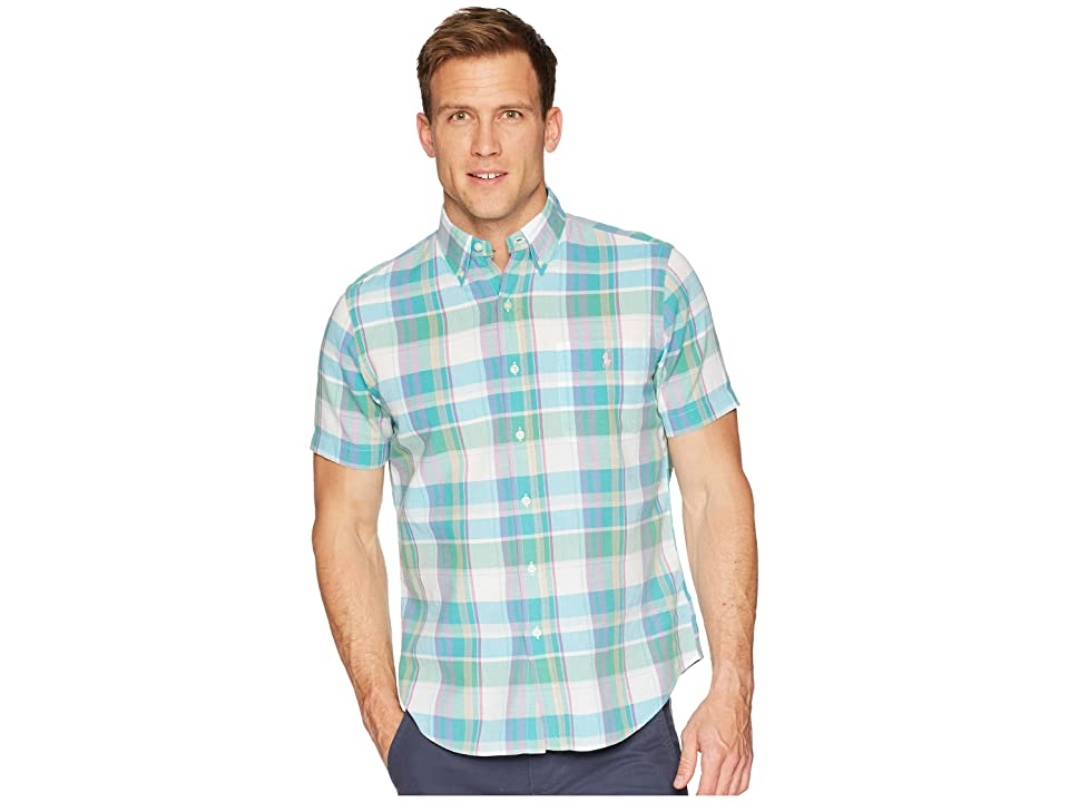 Polo Ralph Lauren Madras Short Sleeve Sport Shirt (Turquoise/Green) Men