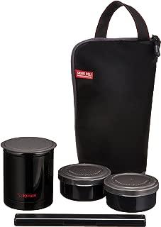 象印マホービン(ZOJIRUSHI) ステンレス フード ジャー 保温 弁当箱 箸 & ランチ バッグ 付き 電子レンジ 対応 ごはん容器 0.24L おかず容器 0.19L × 2 個 ブラック SZ-JB02-BA