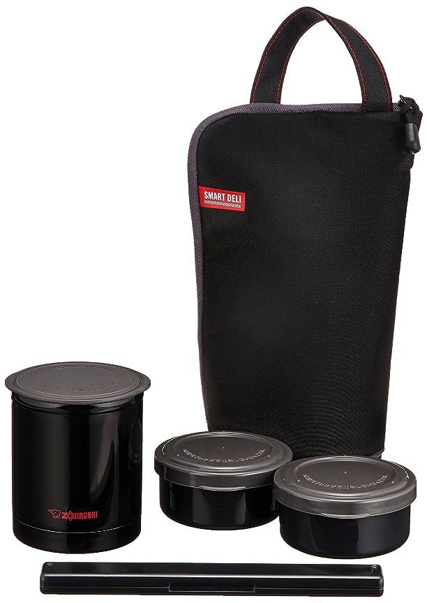 巻き戻す包帯質素な象印マホービン(ZOJIRUSHI) ステンレス フード ジャー 保温 弁当箱 箸 & ランチ バッグ 付き 電子レンジ 対応 ごはん容器 0.24L おかず容器 0.19L × 2 個 ブラック SZ-JB02-BA