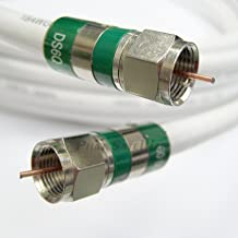 60ft Quad Shield RG-6 Coax 75 Ohm 3Ghz Cable (CATV, Satellite TV, or Broadband Internet) with Compression COAXIAL CONNECTORS