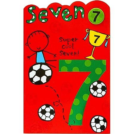 7 YEAR OLD BOY  BIRTHDAY CARD LOVELY CARD CUTE BOY PLAYING FOOTBALL 13 X 19 CMS