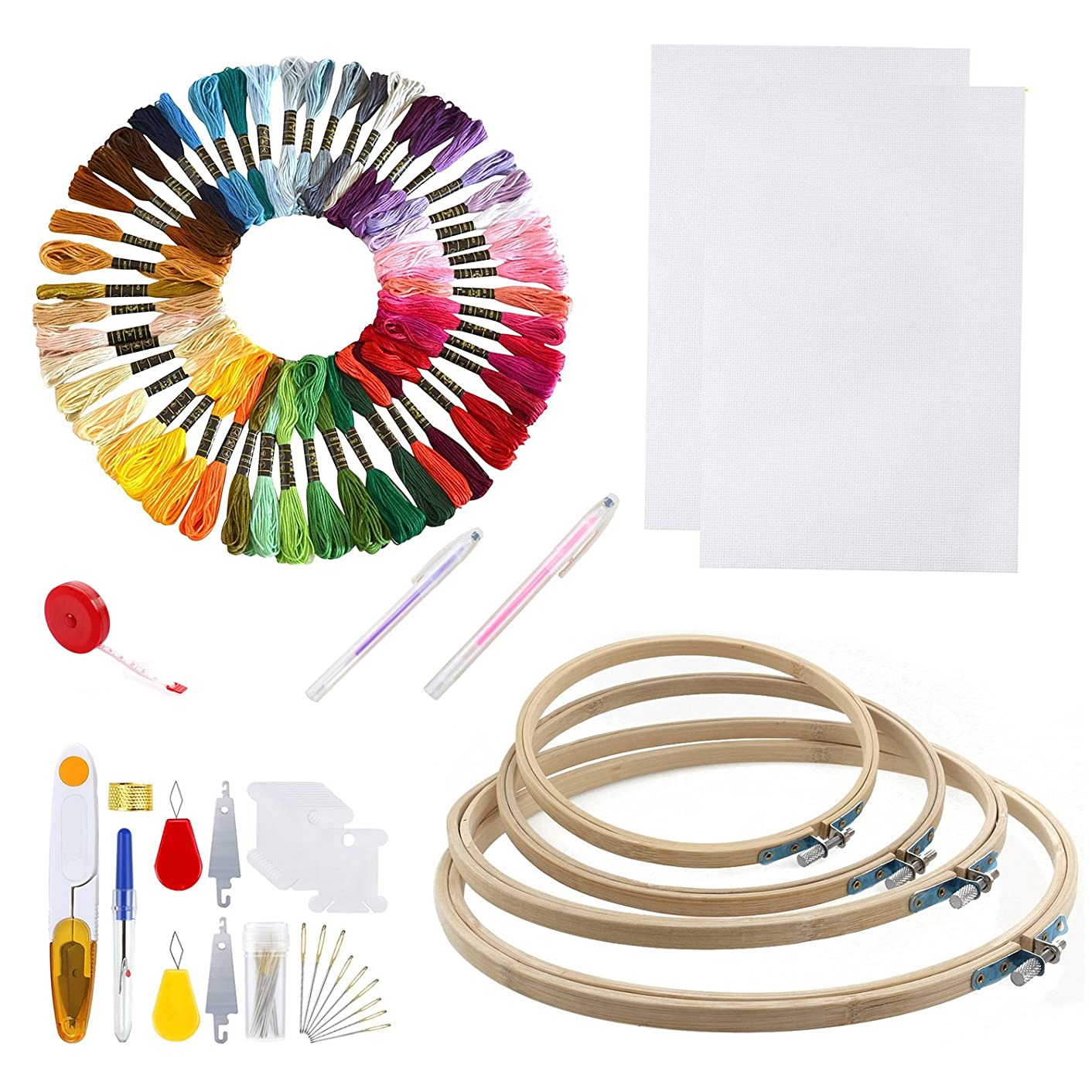 """Cross Stitch Embroidery Starter kit including 2pcs 12""""x18"""" 14 Count 4 bamboo hoops 50 colored threads and tools(No Frame)"""