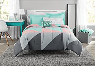 Fun and Bold Mainstays Gray and Teal Bed in a Bag Modern Comforter Set, Geometric Triangle Print with Teal Blue Gray and Pink Coral, Great for Dorms and Kid's Rooms! (Full)